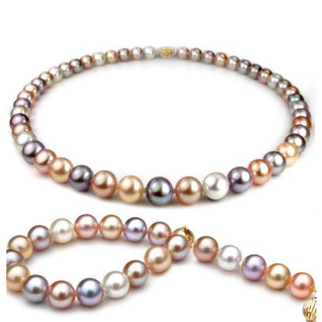 Parure perle d'acqua dolce multicolore - Collana, braccialetto - 7.5/8mm