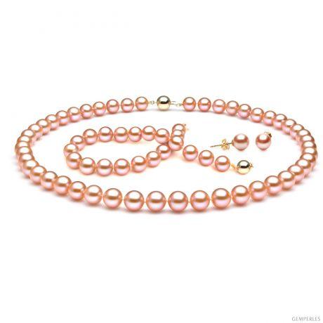 Parure perle d'acqua dolce rosa - Collana, bracciale, orecchini - 7.5/9mm
