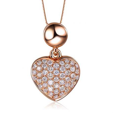 Ciondolo cuore pavé di diamanti - Oro rosa e diamanti 0.230ct