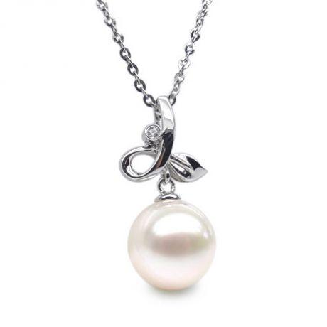 Ciondolo natura - Oro bianco 18ct - Perla d'acqua dolce bianca