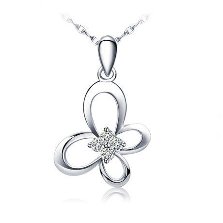 Ciondolo ali di farfalla - Oro bianco 18k e diamanti