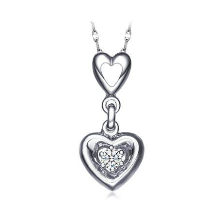 Ciondolo due cuori - Oro bianco 18 carati e diamante