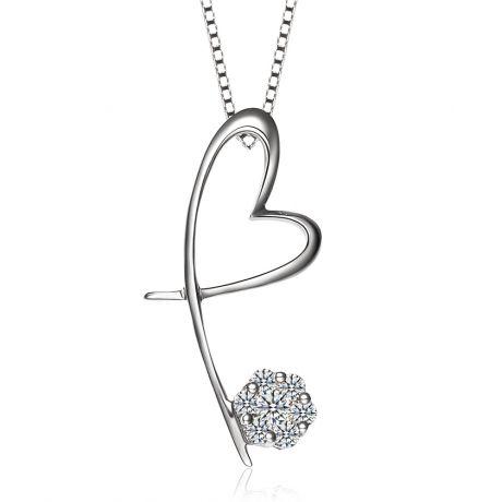 Ciondolo cuore farfalla - Oro bianco e diamanti