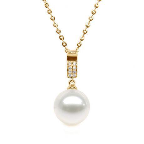 Ciondolo oro giallo - Pavé diamanti - Perla d'acqua dolce bianca
