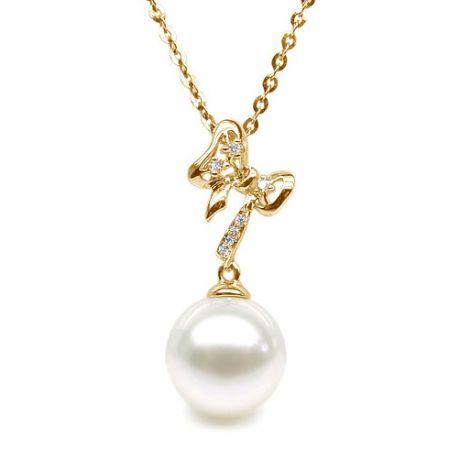 Ciondolo a forma di fiocco - Oro giallo, diamanti, perla bianca
