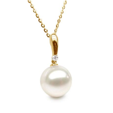 Ciondolo Hainan - Perno oro giallo - Perla bianca d'acqua dolce