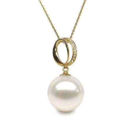 Ciondolo O - fascia in oro giallo diamantata - Perla coltivata cinese