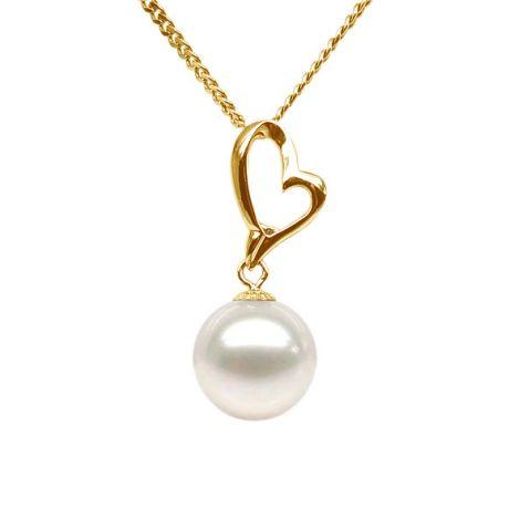 Ciondolo Cupido - Cuore oro giallo - Perla bianca d'acqua dolce