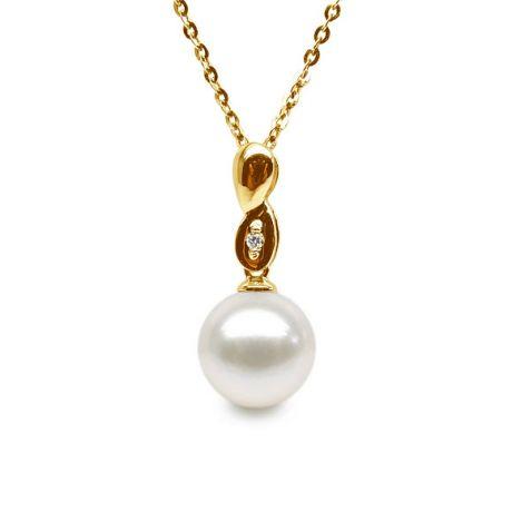 Ciondolo infinito - Perla coltivata cinese - Oro giallo e diamante