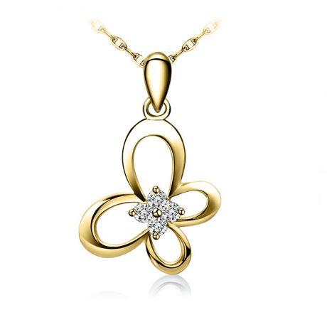 Ciondolo ali di farfalla - Oro giallo 18k e diamanti