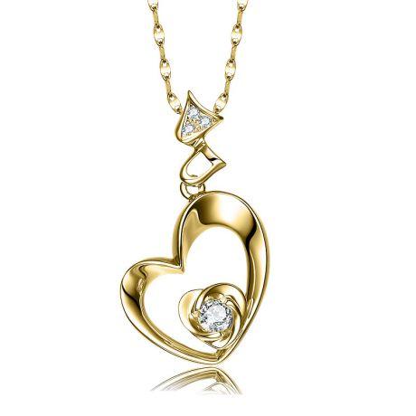 Ciondolo cuore di rosa - Diamanti, oro giallo 18k