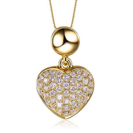 Ciondolo cuore pavé di diamanti - Oro giallo e diamanti 0.230ct