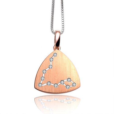 Ciondolo astrologico - Costellazione dei pesci - Oro rosa, diamanti