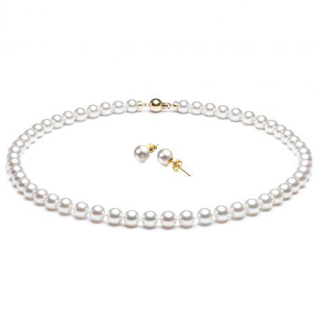 Parure di perle Akoya bianche. Collana e orecchini - 6.5/7.5mm
