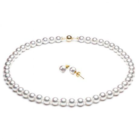 Parure perle di coltura Akoya - Collana e orecchini - 7/7.5mm