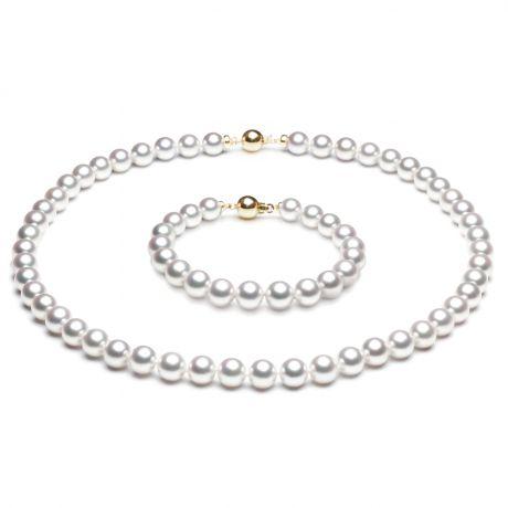Parure oro bianco perle Akoya - Collana e braccialetto - 7/7.5mm