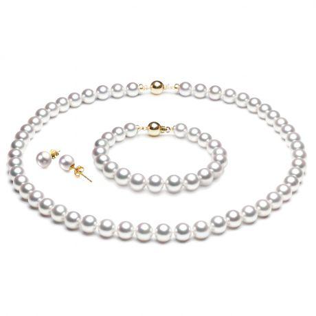 Parure perle oro giallo del Giappone - Perle di mare Akoya