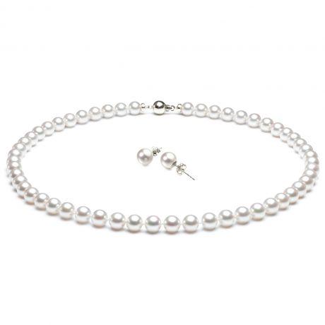 Parure di perle Akoya bianche -  Collana e orecchini - Oro bianco