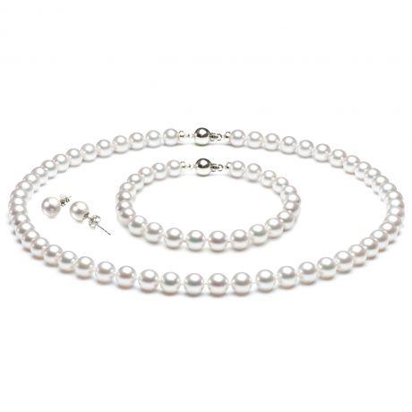 Parure perle Akoya bianche - Collana, braccialetto, orecchini - Oro bianco