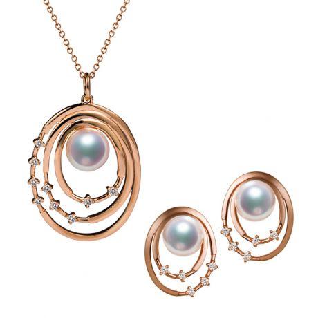 Parure Kaneo. Oro Rosa, Perle Akoya e Diamanti