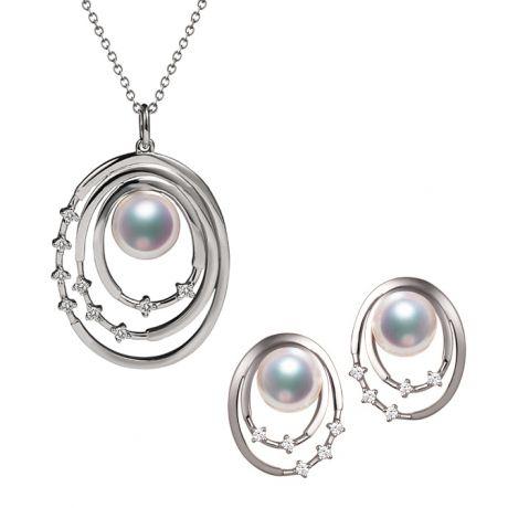 Parure Kaneo. Oro Bianco, Perle Akoya e Diamanti