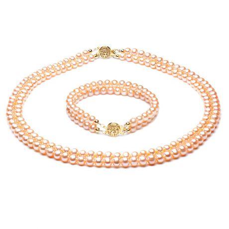 Parure perle acqua dolce rosa - Due fili 5/5.5mm - AA+ Oro giallo
