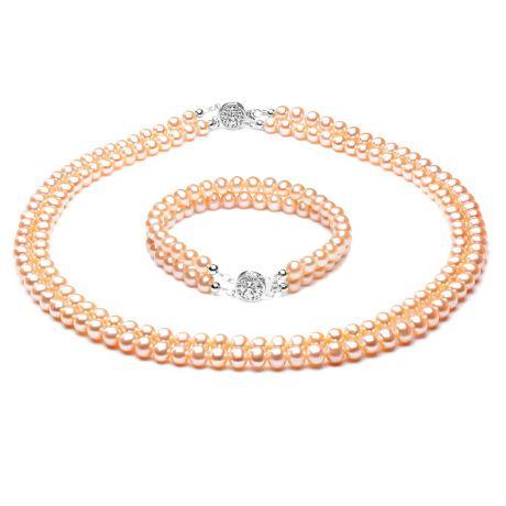 Parure perle d'acqua dolce rosa. Acacia Oro bianco