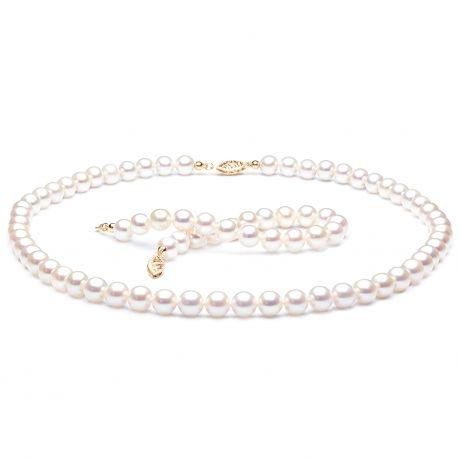Parure perle d'acqua dolce bianche - Collana, braccialetto - 7/7.5mm