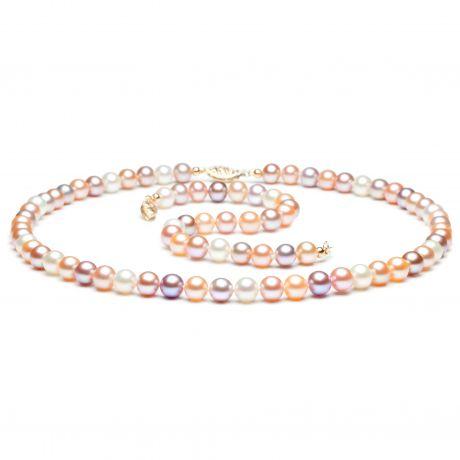 Parure perle d'acqua dolce multicolore - Collana, braccialetto - 6.5/7mm