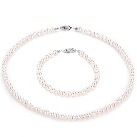 Parure matrimoniale - Perle di coltura bianche - Oro bianco