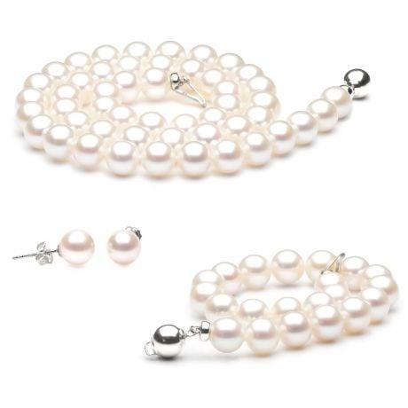 Gioielli matrimonio - Collana, orecchini, braccialetto - Oro bianco