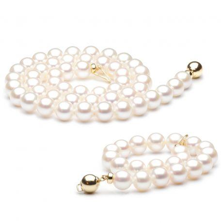 Parure perle di coltura matrimonio - Chiusura oro giallo