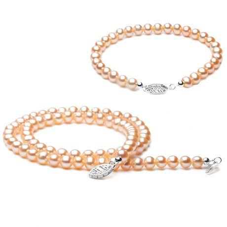 Parure matrimoniale - Perle di coltura rosa - Oro bianco
