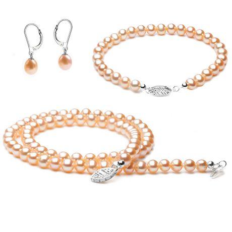 Parure gioielli rosa - Perle d'acqua dolce - Oro bianco