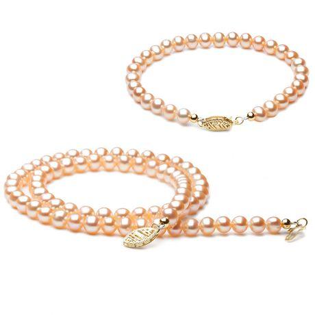 Parure matrimoniale - Perle di coltura rosa - Oro giallo