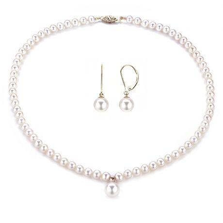 Parure di perle matrimoniale - Collana ed orecchini - Oro giallo