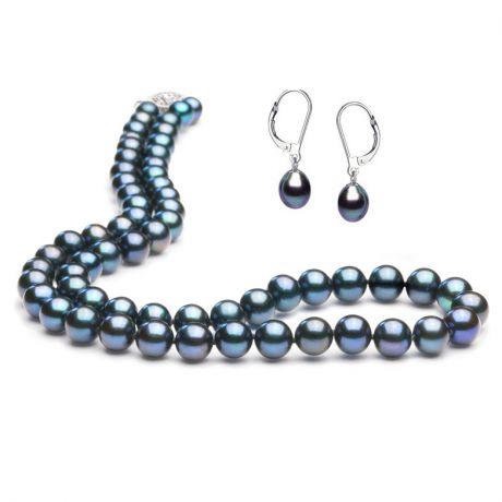 Parure in perle nere - Gioiello acqua dolce - Collana e orecchini