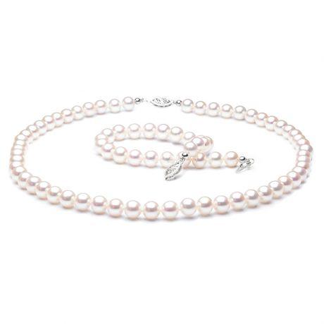 Parure perle d'acqua dolce bianche - Collana, braccialetto - 6.5/7.5mm
