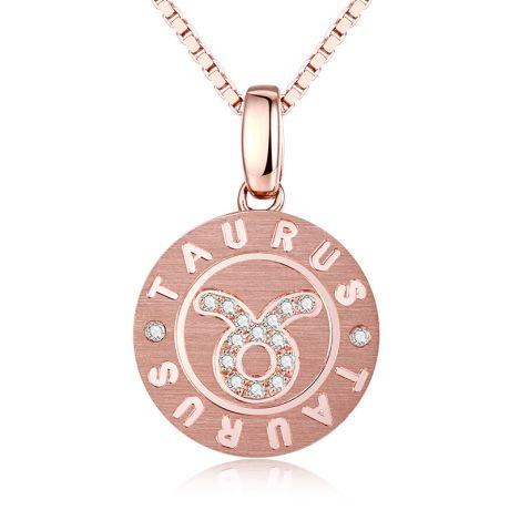 Ciondolo Taurus (Toro) - Oro rosa e diamanti
