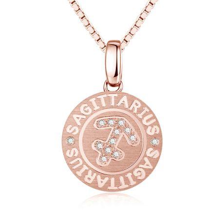 Ciondolo Sagittarius (Sagittario) - Oro rosa e diamanti