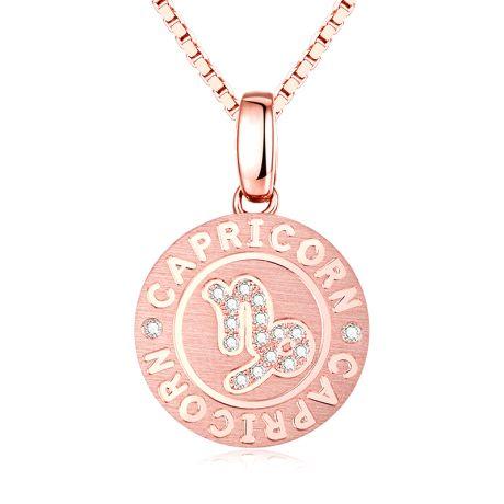 Ciondolo Capricorn (Capricorno) - Oro rosa e diamanti