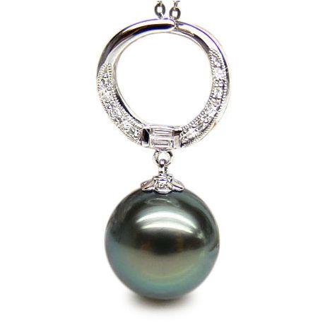 Ciondolo anello oro bianco - Perla di Tahiti nera, blu, verde - 12/13mm