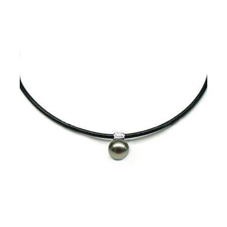Collana ciondolo oro bianco - Perla di Tahiti nera, pavone - 12/13mm