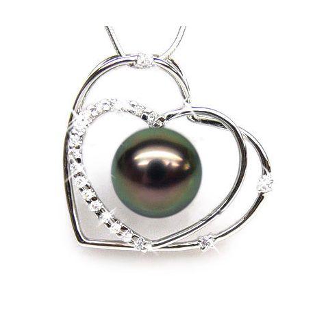 Ciondolo cuori oro bianco - Perla di Tahiti nera, pavone - 9/10mm