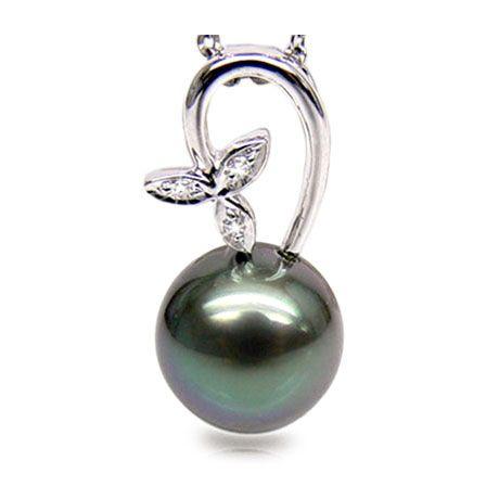 Ciondolo foglia oro bianco - Perla di Tahiti nera, blu - 10/10.5mm