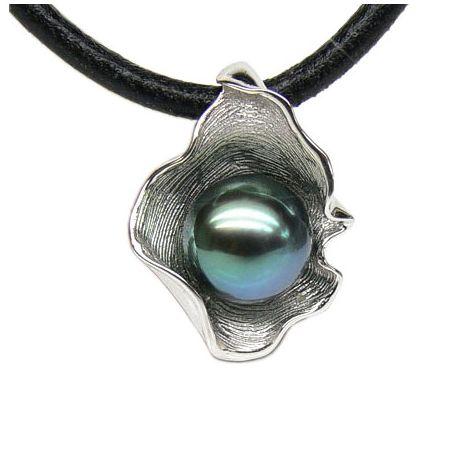 Ciondolo Polinesia oro bianco - Perla di Tahiti nera, blu - 10.5/11mm