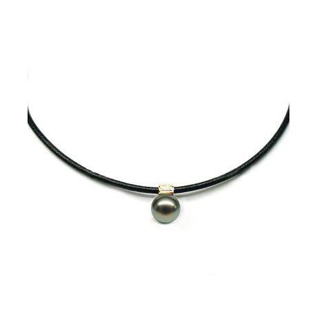 Collana ciondolo oro giallo - Perla di Tahiti nera, pavone - 12/13mm