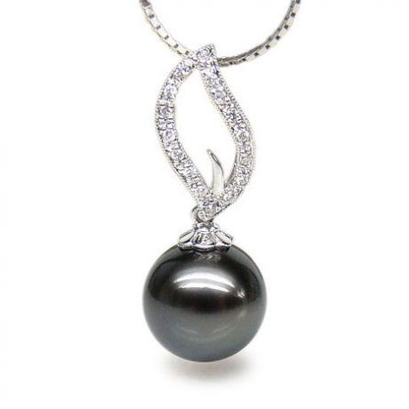 Ciondolo fiamma oro bianco - Perla di Tahiti nera, grigia - 10/11mm