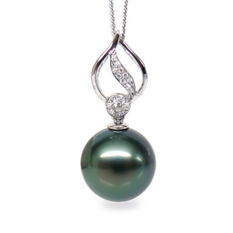 Ciondolo foglia oro bianco - Perla di Tahiti nera, blu, verde - 12/13mm