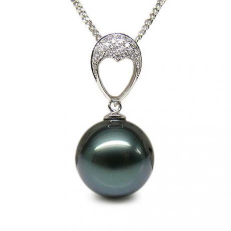 Ciondolo cuore oro bianco - Perla di Tahiti nera, blu - 12/13mm